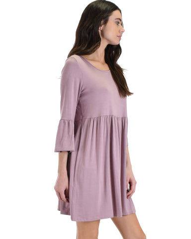 SL3867 Mauve 3/4 Sleeve Dress With Back Keyhole 2-2-2 - Clothing Showroom