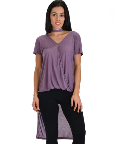 SL3880 Purple Short Sleeve High Low Top With Surplice Front And Choker Detail 2-2-2 - Clothing Showroom