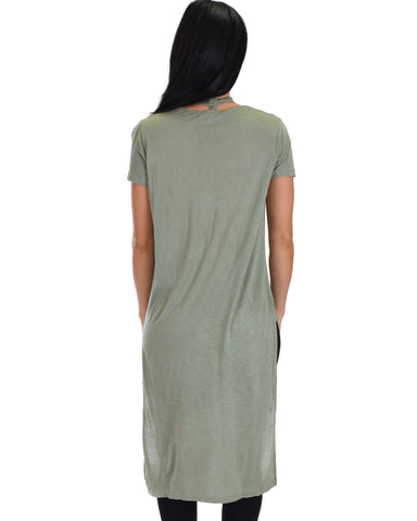 SL3880 Olive Short Sleeve High Low Top With Surplice Front And Choker Detail 2-2-2 - Clothing Showroom