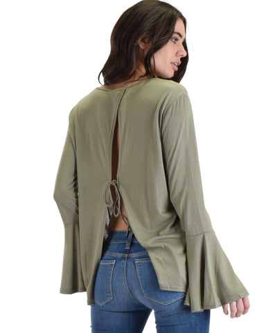 SL3883 Olive Long Bell Sleeve Top With Slipt Back And Tie Detail 2-2-2 - Clothing Showroom