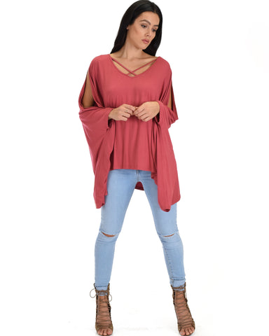 SL3896 Dusty Coral Open Poncho Top With Spahetti Crisscross Neck Detail 2-2-2 - Clothing Showroom