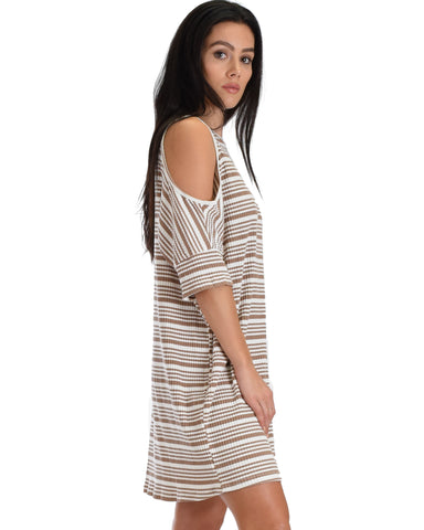SL3908 Taupe 3/4 Sleeve Cold Shoulder Ribbed Shift Dress With Stripes 2-2-2 - Clothing Showroom