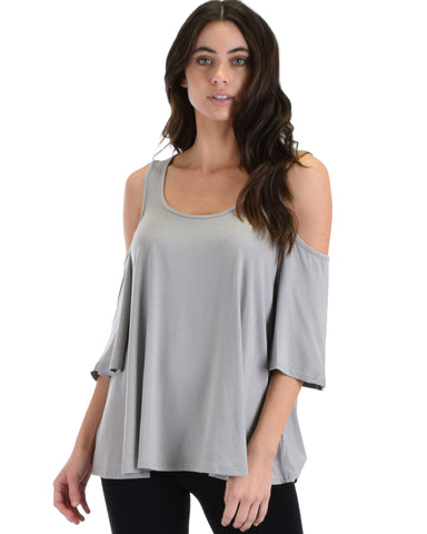 SL3924 Grey 3/4  Sleeve Cold Shoulder Top 2-2-2 - Clothing Showroom