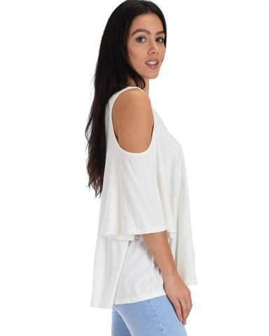 SL3924 White 3/4 Sleeve Cold Shoulder 2-2-2 - Clothing Showroom
