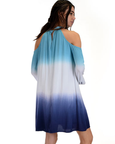 SL3935 Blue Long Sleeve Cold Shoulder Two Tone Ombre Tie Dye Dress 2-2-2 - Clothing Showroom