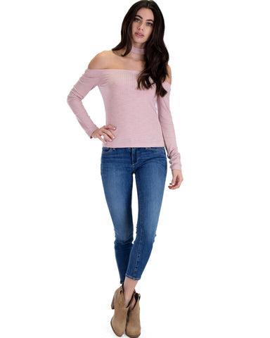 SL3947 Pink Long Sleeve Ribbed Crop Top With Choker 2-2-2 - Clothing Showroom