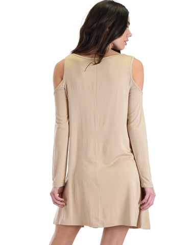 SL3959 Taupe Long Sleeve Cold Shoulder Dress With Neck Spaghetti Detail 2-2-2 - Clothing Showroom