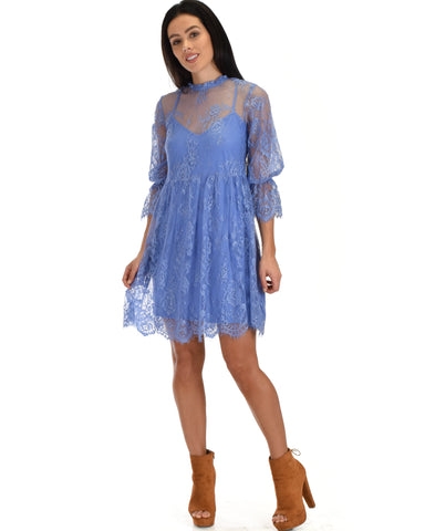 SL3965 Blue 3/4 Sleeve Lace Baby-doll Dress With Scalloped Bottom 2-2-2 - Clothing Showroom
