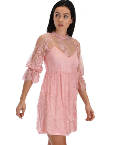 SL3965 Rose 3/4 Sleeve Lace Babydoll Dress With Scalloped Bottom 2-2-2 - Clothing Showroom