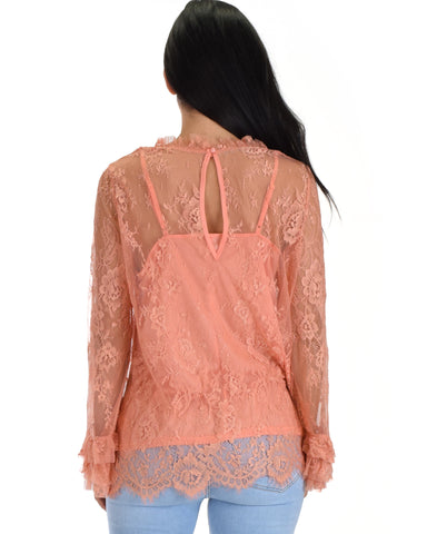 SL3966 Coral Long Sleeve High Neck Lace Top With Contrast Lining And Sleeve Ruffles 2-2-2 - Clothing Showroom