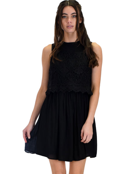 SL3982 Black Sleeveless Layered Dress Wiith Crochet Lace Contrast 2-2-2 - Clothing Showroom