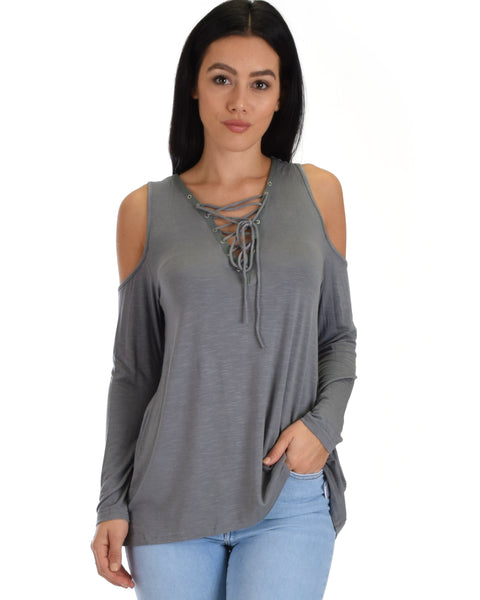 SL4055 Charcoal Long Sleeve Cold Shoulder Top With Lace-Up Front 2-2-2 - Clothing Showroom
