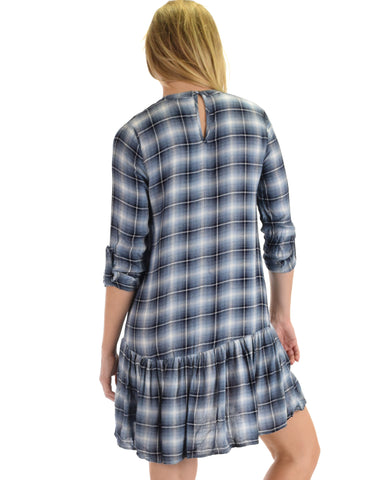 SL4058 Blue Long Sleeve Plaid Dress With Ruffled Hemline 2-2-2 - Clothing Showroom