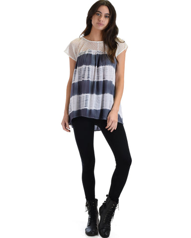 SL4074 Grey Short Sleeve Top With Crochet Lace Yoke And Tie Dye Stripes 2-2-2 - Clothing Showroom