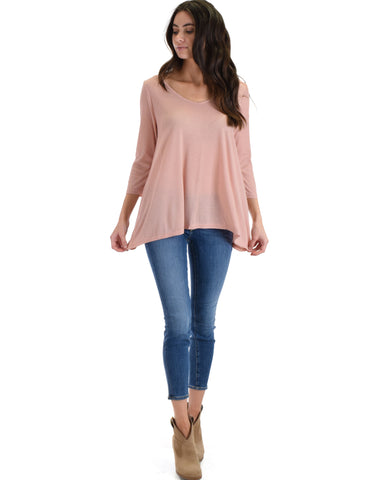 SL4100 Blush Sleeve Ribbed Top With Back Spaghetti Strap Detail 2-2-2 - Clothing Showroom