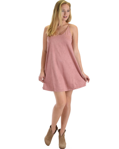 SL4106 Rose Faux Sude Dress With Spaghetti Strap Details 2-2-2 - Clothing Showroom