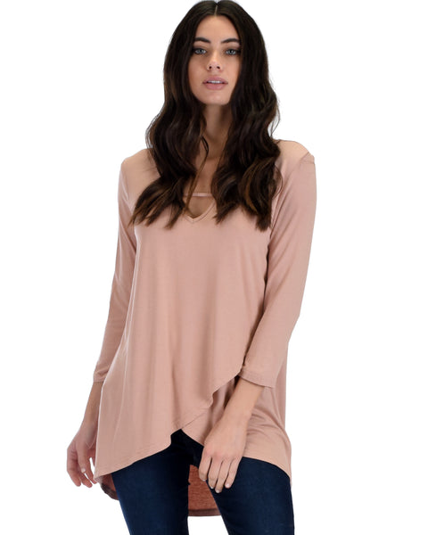 SL4124 Blush 3/4 Sleeve Tulip Hem Top With Spaghetti Detail 2-2-2 - Clothing Showroom