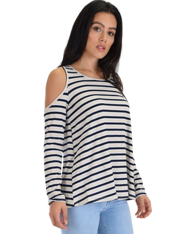 SL4128 Taupe Long Sleeve Cold Shoulder Striped Top 2-2-2 - Clothing Showroom