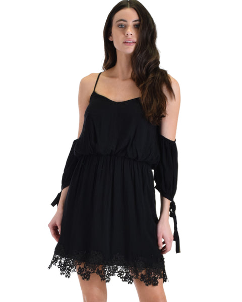 SL4136 Black 3/4 Sleeve Cold Shoulder Dress With Lace Hemline And Tie Sleeves 2-2-2 - Clothing Showroom