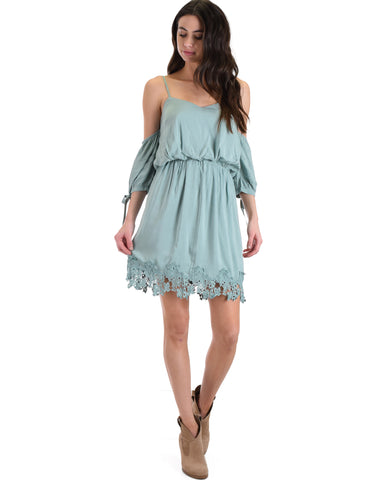 SL4136 Slate 3/4 Sleeve Cold Shoulder Dress With Lace Hemline And Tie Sleeves 2-2-2 - Clothing Showroom