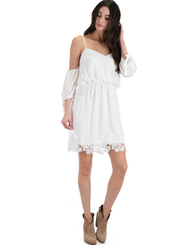SL4136 White 3/4 Sleeve Cold Shoulder Dress With Lace Hemline And Tie Sleeves 2-2-2 - Clothing Showroom