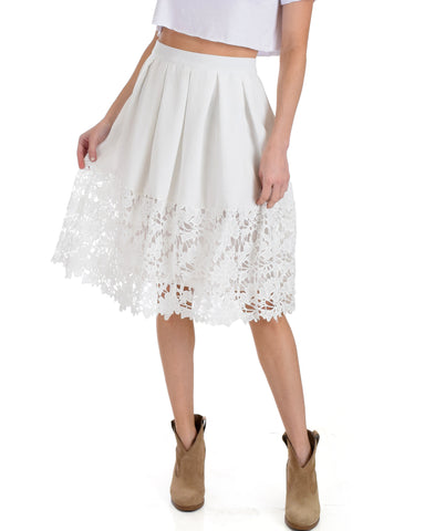 SL4148 White Midi Skirt With Floral Crochet Lace Bottom 2-2-2 - Clothing Showroom