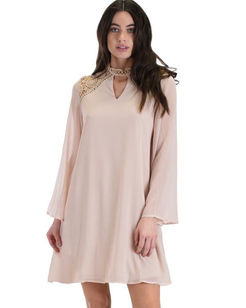 SL4161 Taupe Long Sleeve Swing Dress With Lace Contrast 2-2-2 - Clothing Showroom