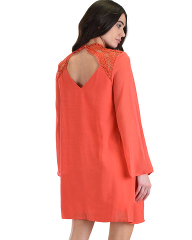 SL4161 Coral Long Sleeve Swing Dress With Lace Contrast 2-2-2 - Clothing Showroom