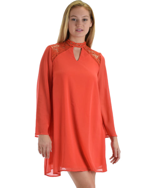 SL4161 Tomato Long Sleeve Swing Dress With Lace Contrast 2-2-2 - Clothing Showroom