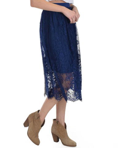 SL4170 Navy Scalooped Lace Midi Skirt 2-2-2 - Clothing Showroom