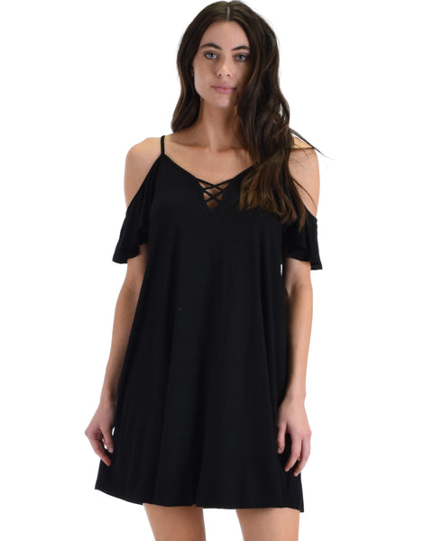SL4172 Black Half Sleeve Off Shoulder Shift Dress With Crisscross Spaghetti Detail 2-2-2 - Clothing Showroom
