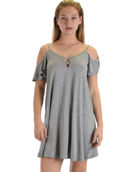SL4172 Grey Half Sleeve Off Shoulder Shift Dress With Crisscross Spaghetti Detail 2-2-2 - Clothing Showroom