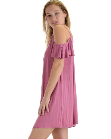 SL4172 Mauve Pink Half Sleeve Off Shoulder Shift Dress With Crisscross Spaghetti Detail 2-2-2 - Clothing Showroom