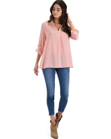 SL4183 Pink Long Roll-Up Sleeve Shirt 2-2-2 - Clothing Showroom