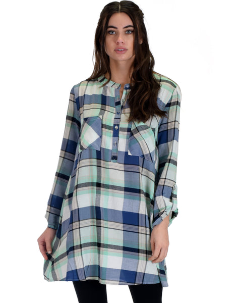 SL4206 Mint 3/4 Sleeve Plaid Tunic Top 2-2-2 - Clothing Showroom