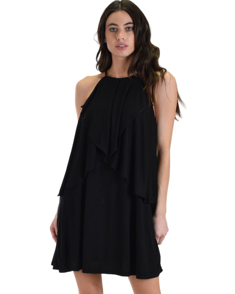 SL4246 Black Sleeveless Shift Dress With Dropped Ruffles 2-2-2 - Clothing Showroom