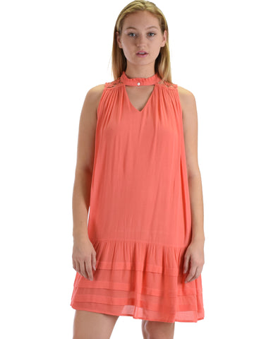 SL4269 Coral Sleeveless Shift Dress With Yoke Lace And Pin-tucked Skirt 2-2-2 - Clothing Showroom