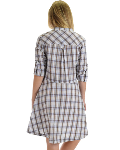 SL4276 White 3/4 Sleeve Plaid Dress With Button Front And Roll-Up Sleeves 2-2-2 - Clothing Showroom