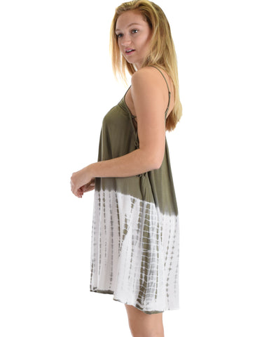 SL4290 Olive Spaghetti Strap Cami Dress With Lace-Up Sides And Tie Dye 2-2-2 - Clothing Showroom