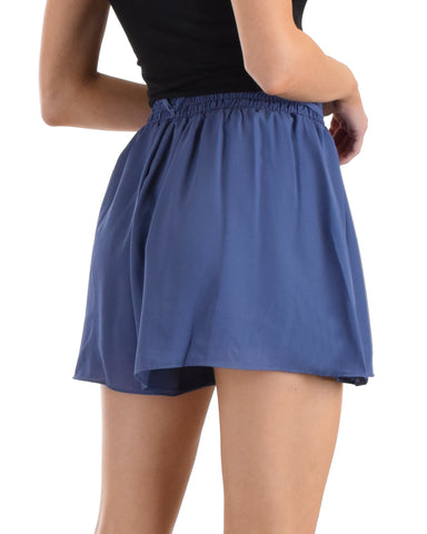 SL4314 Blue Shorts With Elastis Waist Band And Front Tie 2-2-2 - Clothing Showroom