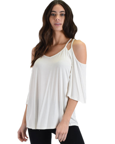SL4321 White Short Sleeve Cold Shoulder Top With Double Spaghetti Straps 2-2-2 - Clothing Showroom