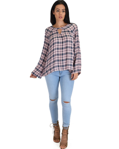 SL4323 Rose Grey Long Sleeve Plaid Top With Keyhole 2-2-2 - Clothing Showroom