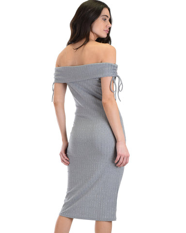SL4385 Grey Off Shoulder Mini Bodycon Pencil Dress With Ribbed Fabric 2-2-2 - Clothing Showroom
