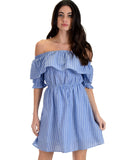 SL4394 Blue Half Puff Sleeve Off Shoulder With Stripes And Ruffle Dress 2-2-2 - Clothing Showroom
