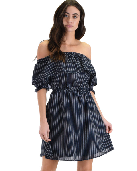SL4394 Navy Half Puff Sleeve Off Shoulder With Stripes And Ruffle Dress 2-2-2 - Clothing Showroom