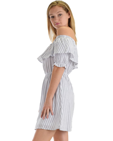 SL4394 White Half Puff Sleeve Off Shoulder With Stripes And Ruffle Top 2-2-2 - Clothing Showroom