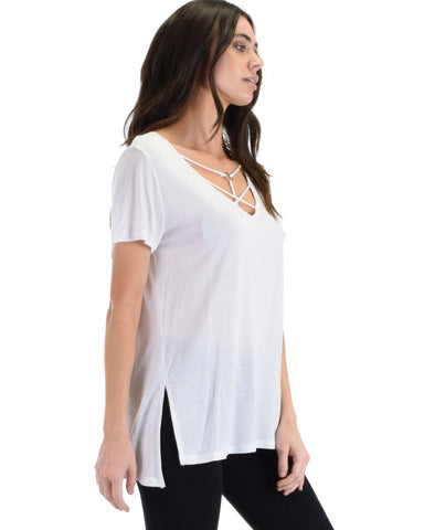 SL4457 White Half Sleeve Top With Neck O-Ring And Crisscross Spaghetti Straps 2-2-2 - Clothing Showroom