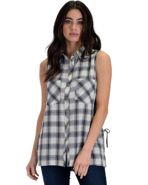 SL4491 White Sleeveless Plaid Shirt With Lace-Up Sides 2-2-2 - Clothing Showroom