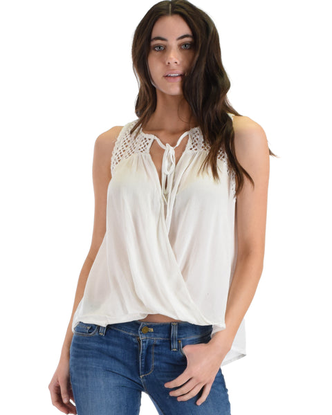 SL4507 White Sleeveless Textured Surplice Top With Lace Yoke 2-2-2 - Clothing Showroom