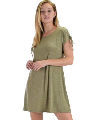 SL4509 Olive Short Sleeve Shift Dress With Shoulder Lace-Up Detail 2-2-2 - Clothing Showroom